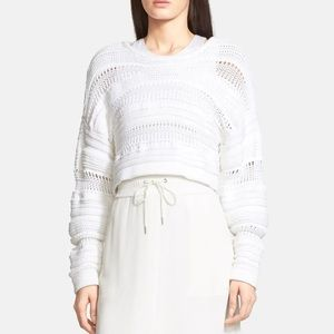 Helmut Lang Cropped Knit White Sweater Textured